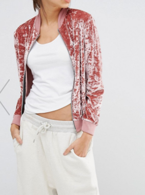 Missguided Velvet Bomber Jacket