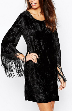 Fallen Star Crushed Velvet Swing Dress with Fringe Sleeve