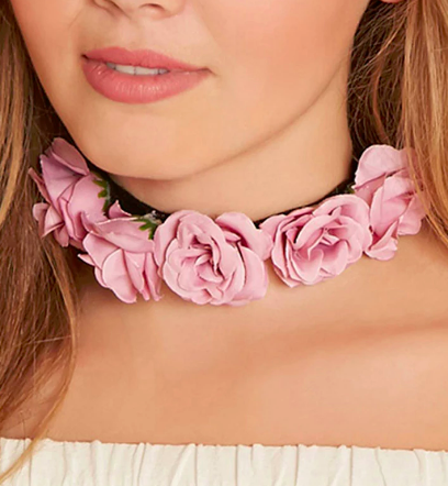 Forever 21 Faux Rose Choker