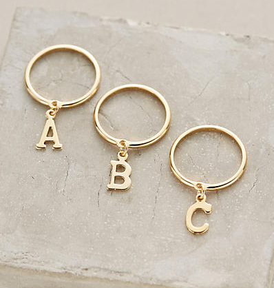 Monogram Pendant Stacking Ring