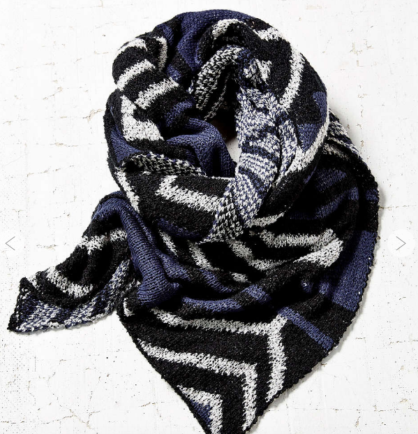 UO Geo Mix Knit Cozy Blanket Scarf
