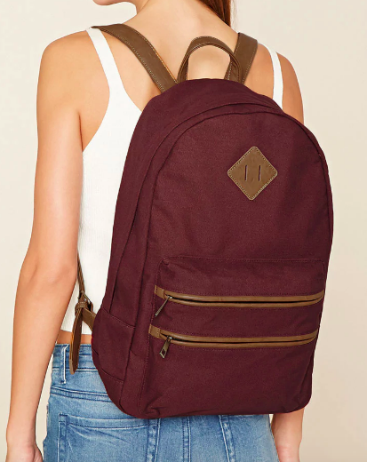 Forever 21 Faux Leather-Trimmed Backpack