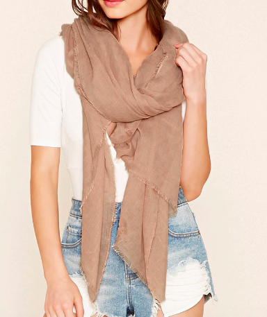 Forever 21 Frayed Trim Oblong Scarf