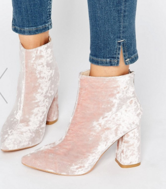 Daisy Street Pink Crushed Velvet Point Heeled Ankle Boots