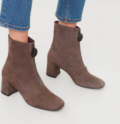 Mango Zipped leather ankle boots