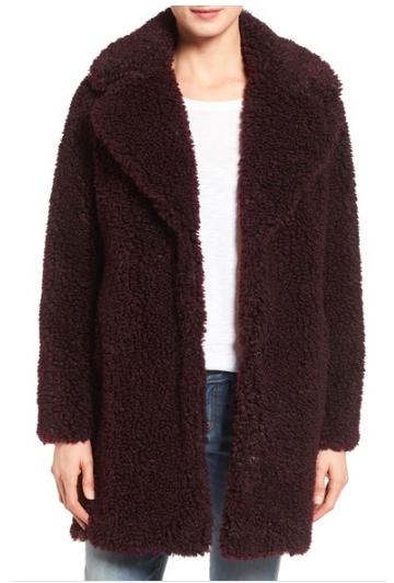 kensie 'Teddy Bear' Notch Collar Faux Fur Coat