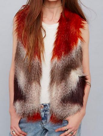 FP Pattern Faux Fur Vest