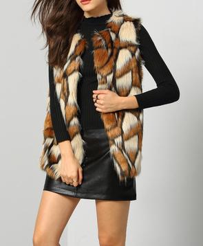 Brown Patchwork Faux Fur Feather Vest