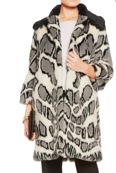 AINEA Printed faux fur coat