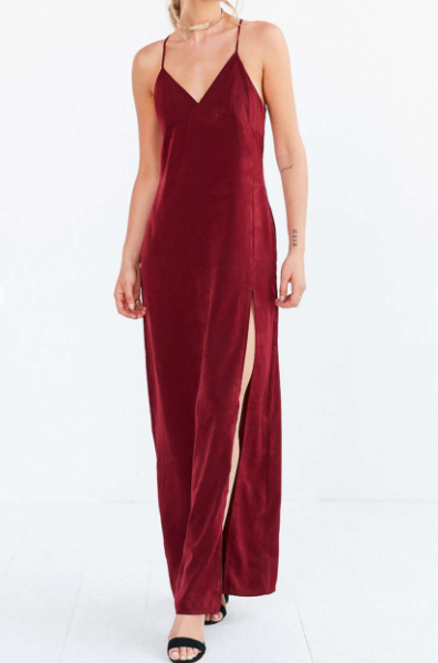 Silence + Noise Satin Empire Maxi Slip Dress