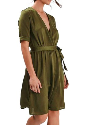 Topshop Crushed Satin Wrap Dress