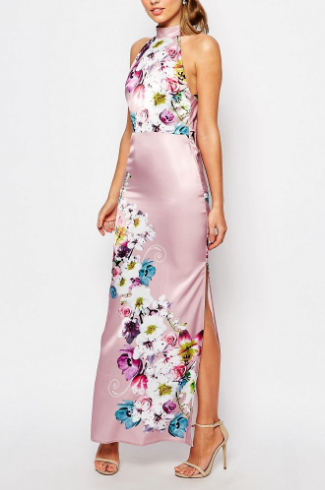 True Violet Sateen Cowl Back Maxi Dress In Floral Print