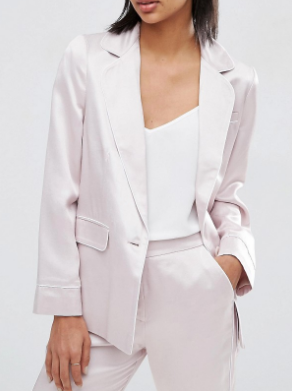 ASOS Soft Satin Pajama Jacket With Piping