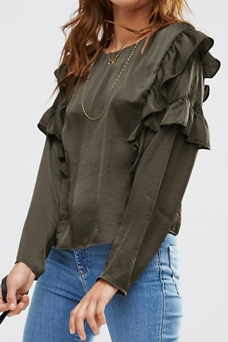 ASOS Drop Shoulder Ruffle Detail Satin Top