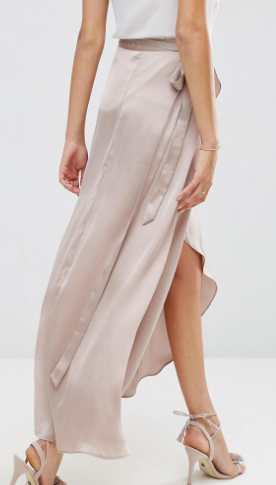 ASOS Maxi Wrap Skirt in Satin