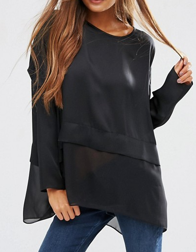 ASOS Oversized Top in Satin with Sheer Hem