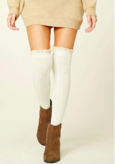 Forever 21 Over-The-Knee Ruffle Socks