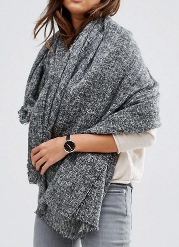 ASOS Oversized Square Woven Scarf In Two Tone