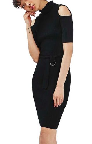 Topshop D-Ring Belt Cold Shoulder Sweater Dress
