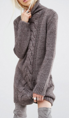 Oneon Hand Woven Sweater Dress with Cable Detail