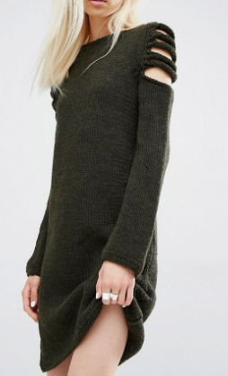 Oneon Hand Woven Sweater Dress with Exposed Shoulder Detial