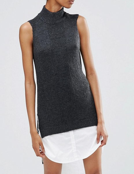 Noisy May Tall 2 In One Sleeveless High Neck Sweater Dress