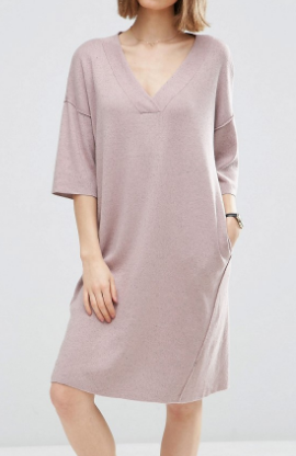 ASOS Oversized Sweater Dress with V Neck In Silk Blend Yarn