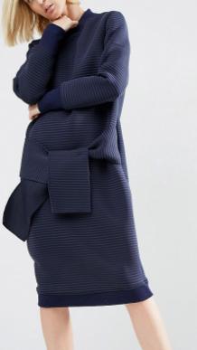 ASOS WHITE Tie Detail Midi Dress In Self Stripe