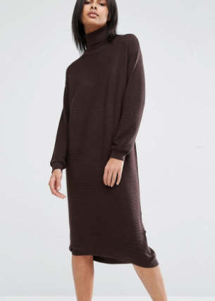 ASOS Knit Midi Dress in Recycled Yarn With High Neck