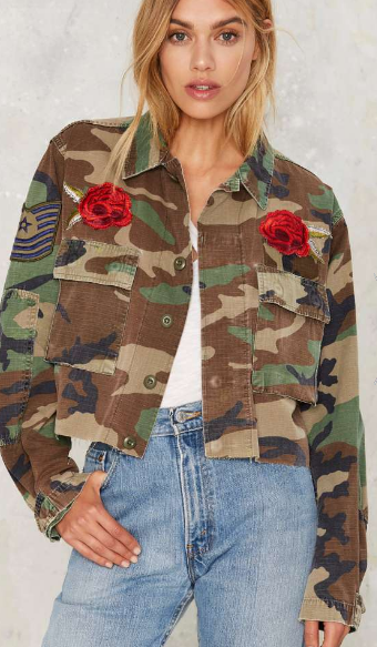 After Party by Nasty Gal Back to the Buds Embellished Camo Jacket