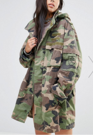 Milk It Vintage Oversized Military Parka Jacket In Camo