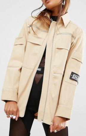 Shade London Oversized Military Shirt Jacket