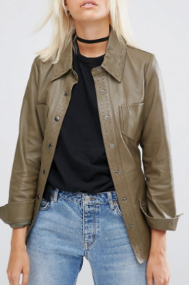 ASOS Leather Jacket with Self Belt and Stab Stitch Detail