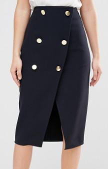 Closet Double Button Wrap Skirt