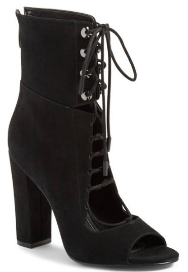 KENDALL + KYLIE 'Ella' Lace-Up Peep Toe Bootie