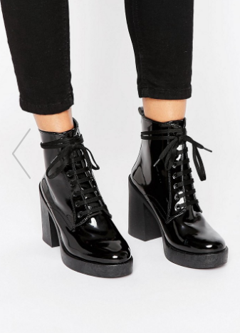 River Island Patent Lace Up Clunky Boot