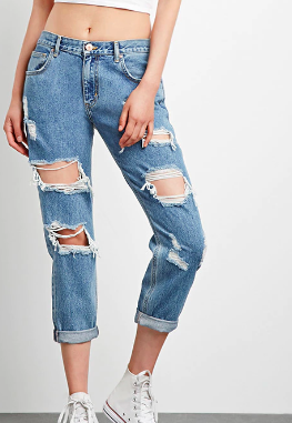 Forever 21 Destroyed Boyfriend Jeans