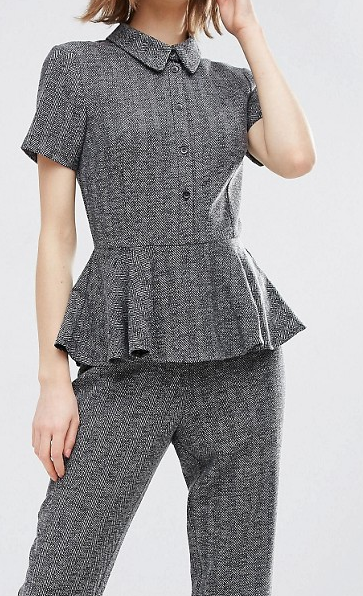 ASOS Jumpsuit With Peplum In Herringbone