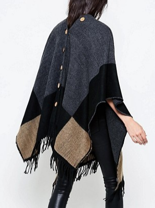 Jayley Color Block Festival Poncho In Cashmere Wool Mix