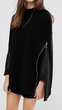 Stitch & Pieces Fitted Knit Poncho with Zips