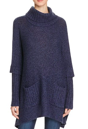 AQUA Turtleneck Poncho Sweater