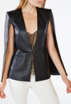 BCBG UPAS FAUX-LEATHER CAPE
