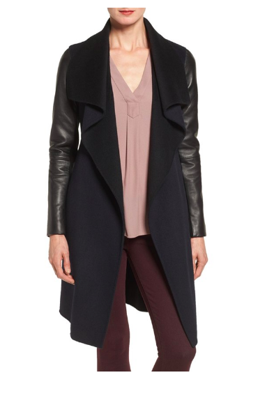 Leather Sleeve Double Face Wool Blend Wrap Coat MACKAGE