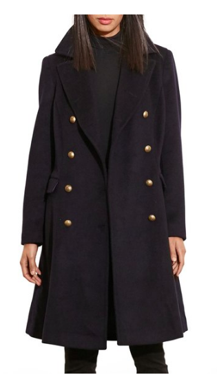 Skirted Wool Blend Military Coat LAUREN RALPH LAUREN