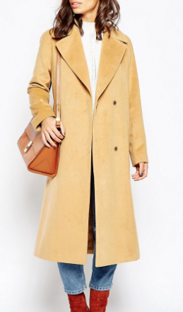 ASOS PETITE Coat in Midi with Stab Stitch Detail