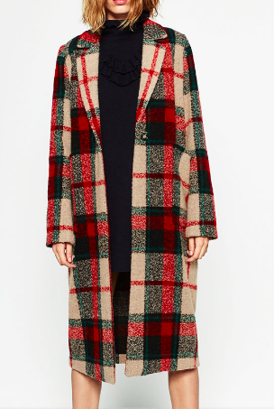 Zara long check coat