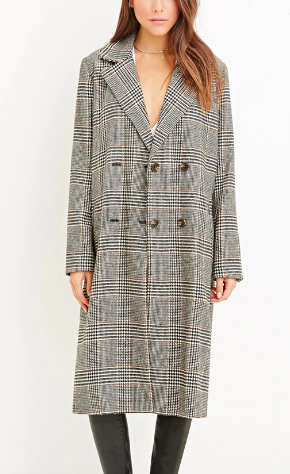 Forever 21 Glen Plaid Duster Coat