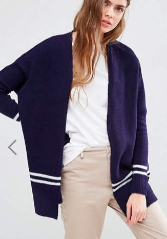 ASOS Chunky Cardigan with Stripe Detail