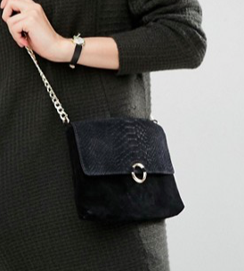 ASOS Suede Snake Embossed Ring Detail Cross Body Bag