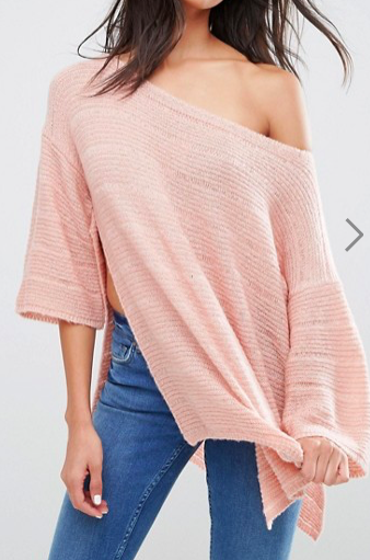 ASOS Boxy Sweater With Off Shoulder